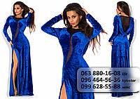 Роскошное женское длинное платье из бархата, украшенное сеткой синее