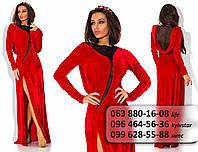Роскошное женское длинное платье из бархата, украшенное сеткой красное