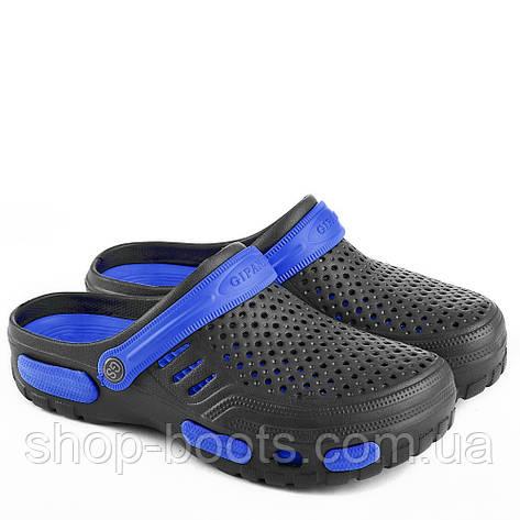 Мужские сабо-кроксы оптом Гипанис. 41-45рр. Модель Гипанис СМ118 черно-синий, фото 2