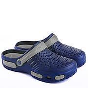 Мужские сабо-кроксы оптом Гипанис. 41-45рр. Модель Гипанис СМ118 черно-синий Сине-серый