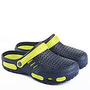 Мужские сабо-кроксы оптом Гипанис. 41-45рр. Модель Гипанис СМ118 черно-синий Сине-желтый