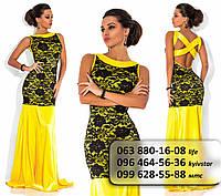 Роскошное длинное платье из королевского атласа с открытой спиной желтое