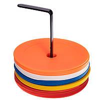 Набор плоских кругов-маркеров для разметки (20шт) FB-7098-20 (PE, d-16см, на подставке, разноцветный)