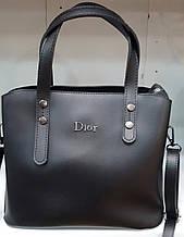 Женская молодежная черная сумка Dior из турецкой эко-кожи с отделами на магните по бокам 28*24 см