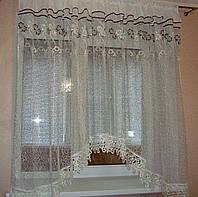 """Тюль для кухни аркой готовая с кружевом 3 м """"Элина"""" фатин золото с коричневым, фото 1"""