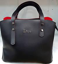 Женская молодежная черная с красным сумка Dior из турецкой эко-кожи с отделами на магните по бокам 28*24 см