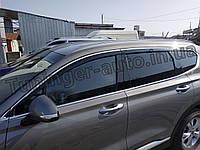 Дефлектори вікон, вітровики з хром молдингом Hyundai Santa Fe 2018 - 6шт. (D983/AutoClover), фото 1