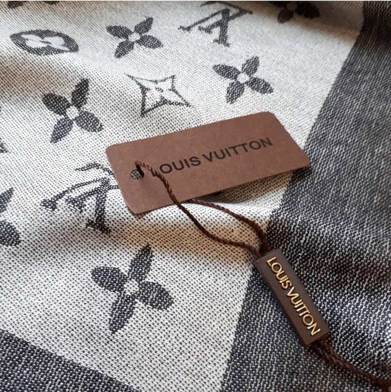 Палантин Louis Vuitton серый комби, фото 2