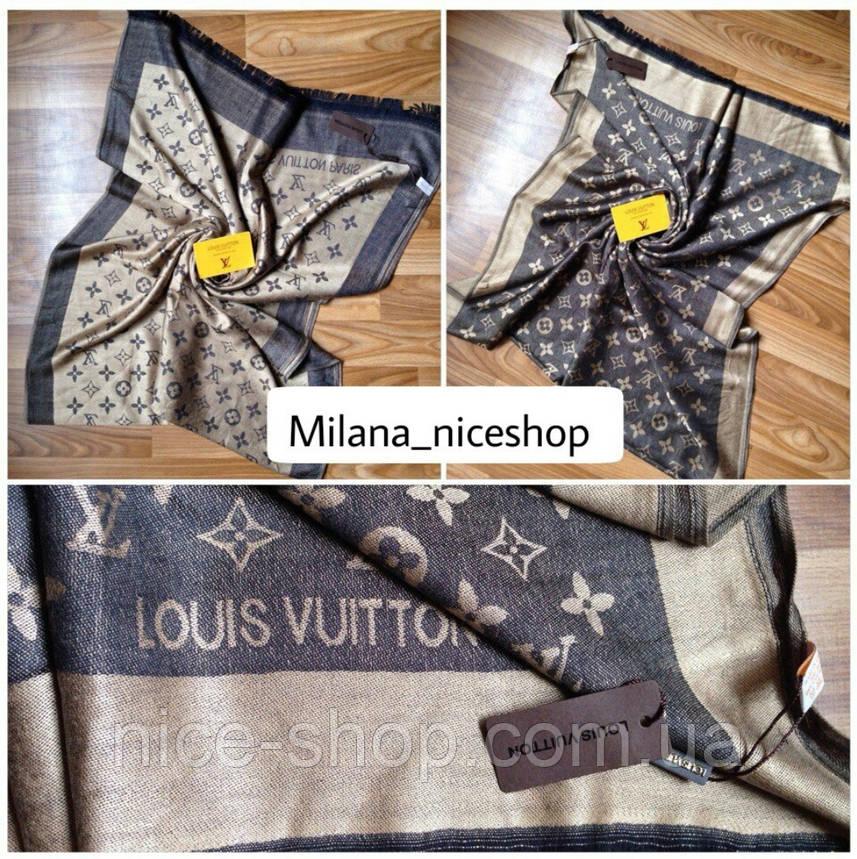 Палантин Louis Vuitton сіро-золотистий, фото 2