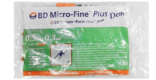 шприцы для инсулина BD Micro Fne Plus Demi 0.30 мм (30G) x 8 мм