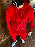Мужской спортивный костюм велюровый красного цвета стильный модный яркий весна лето штаны+кофта