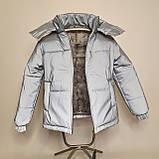 Світловідбиваюча жіноча куртка з рефлективної тканини з капюшоном р-ри 38-48 Ванда Рефлектив, фото 6