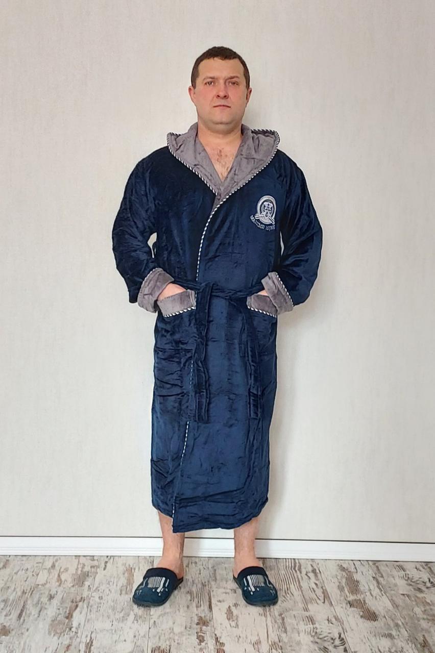 Теплий чоловічий халат з капюшоном 100% cotton
