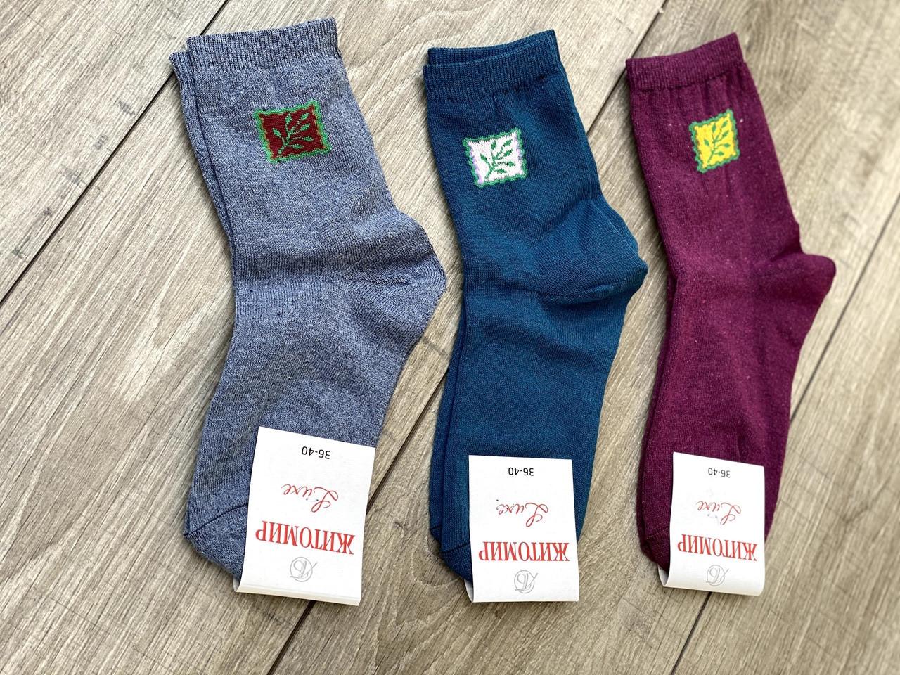 Женские носки средние носки стрейчевые Житомир Люкс с узором ветвь дерева 36-40 12 шт в уп темное ассорти