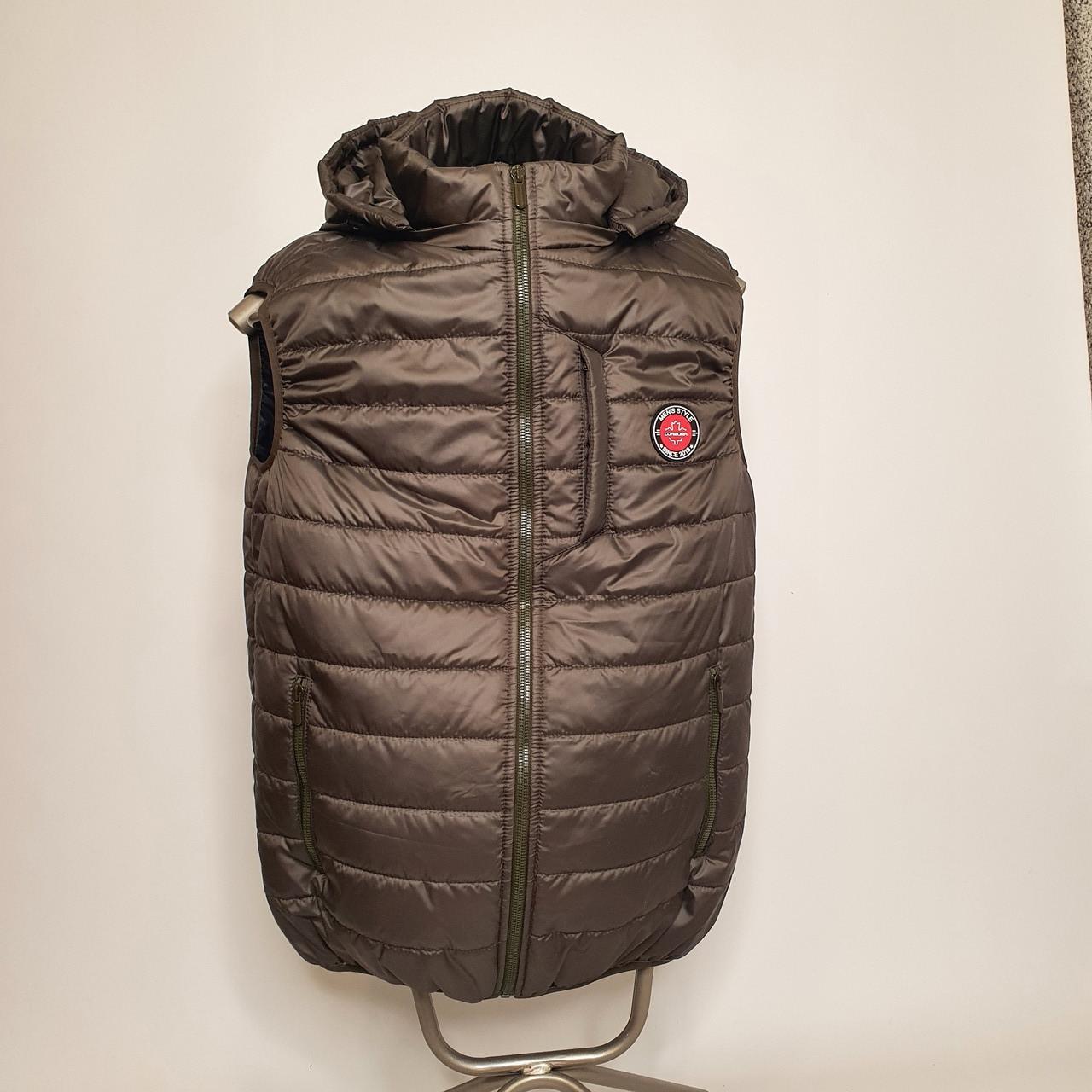Утепленный стеганый жилет безрукавка демисезонный мужской из плащевки на силиконе с капюшоном с карманами