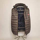 Утепленный стеганый жилет безрукавка демисезонный мужской из плащевки на силиконе с капюшоном с карманами, фото 2