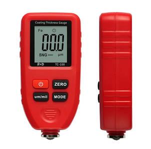 TC100-grey  TC-100 TC100 тс100 тс 100  толщиномер краски, Fe/NFe, до 1300 мкм (комлект стандарт)  + батарейка Крассный