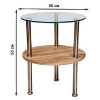 Круглый журнальный столик из стекла Signal Ivet 50x55см с полкой цвета дуб сонома на трех хромированных ножках