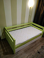 """Односпальная кровать """"Тахта"""" - Маркус бело-зеленая, массив ольхи"""