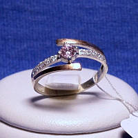 Срібне кільце з золотою пластиною (рожевий фіаніт) 1250р з.нак, фото 1