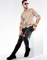 Стрейчевая рубашка с потайными пуговицами цвета мокко L, XL