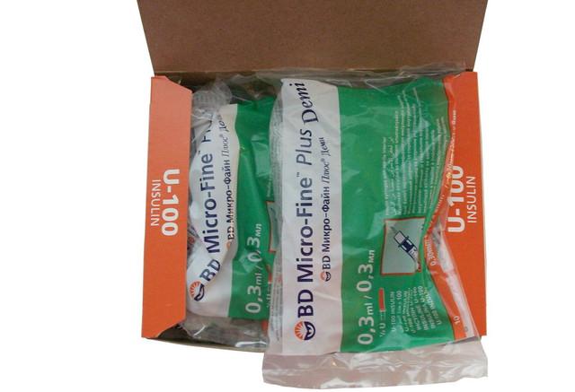 шприц для инсулина bd micro fine plus demi 0,30 мм (30G) x8 мм