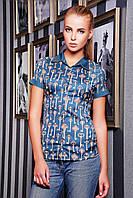 Блузка женская летняя с коротким рукавом бирюза-ключики Деним