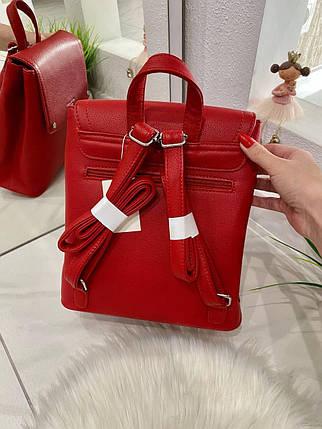 Женский рюкзак Fashion Club на 2 отделения красный РКФ7, фото 2