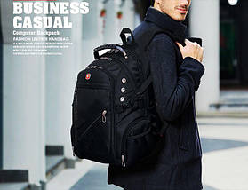 Місткий рюкзак з жорсткою спинкою. Чорний. + Дощовик. 35L / s8810-3 black, фото 2