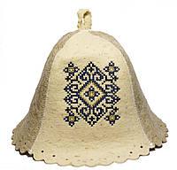 Шапка для бани  украинский орнамент синий