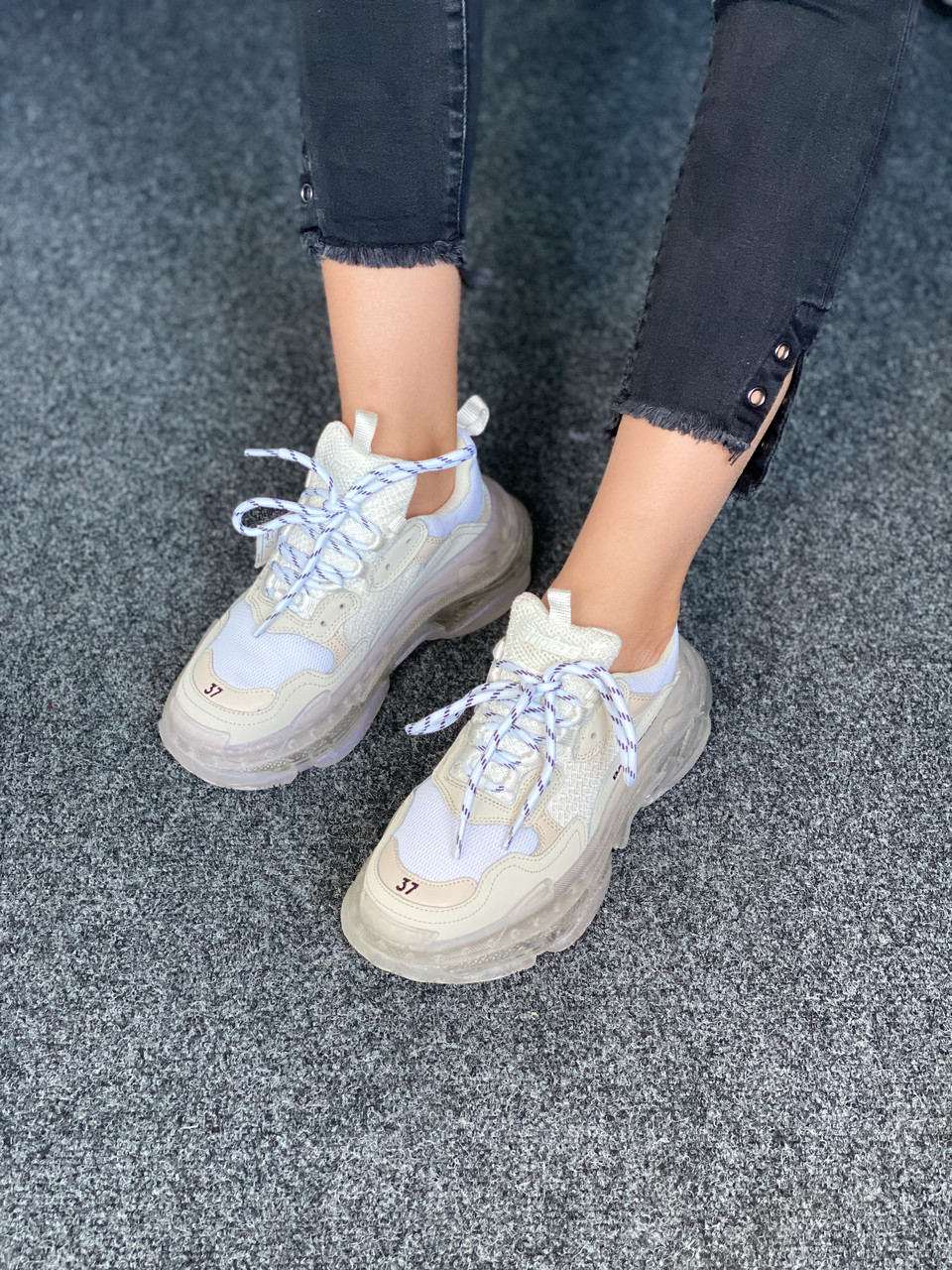 Білі кросівки Balenciaga Triple S Clear Sole White