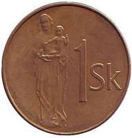 Мадонна с младенцем. Монета 1 крона. 1993 год, Словакия.  (БЕ)