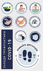 Набор информационных наклеек Коронавирус профилактика размер листа 900х560 мм Z160012