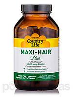 Витамины для волос Maxi-Hair ® Plus, 240 капсул, Country Life, стеклянная банка., фото 1