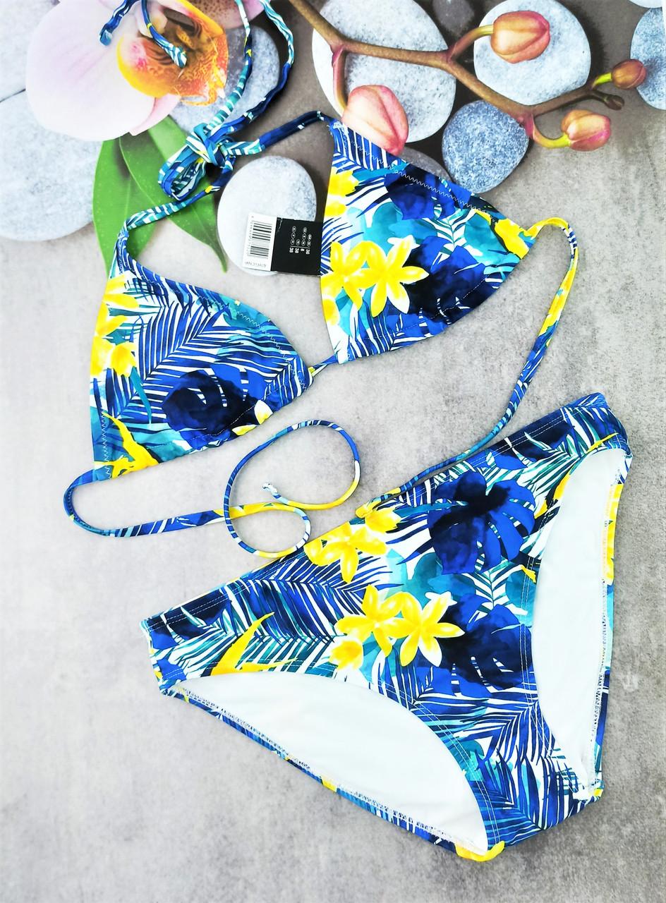 Женский купальник Esmara бюст на завязках 40р морская волна в цветы  (313429)