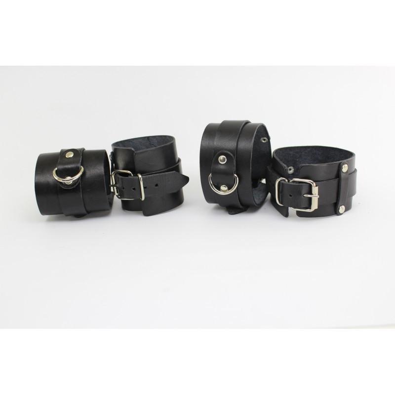Набор BDSM наручники и поножи натуральная кожа черные БДСМ BDSM атрибутика САДО МАЗО игры