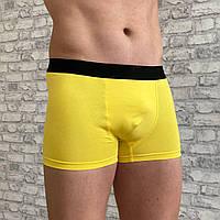 Боксеры мужские однотонные на спортивной резинке. Баталы. Желтый цвет., фото 1