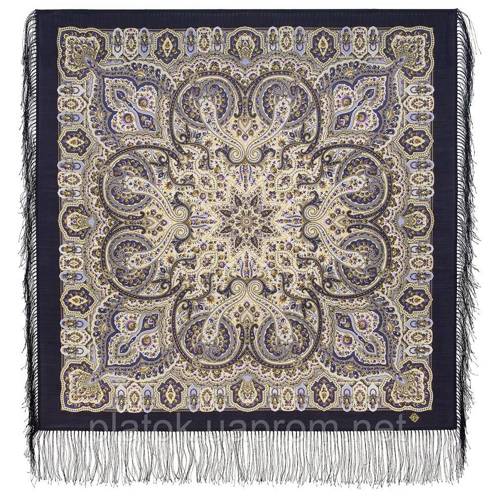 Огонек в ладонях 1937-15, павлопосадский платок шерстяной  с шелковой бахромой