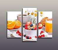 Картина модульная для кухни Апельсины Фрукты Цитрусы Чашка сока Яркий цвет 90х70 из 3-х частей