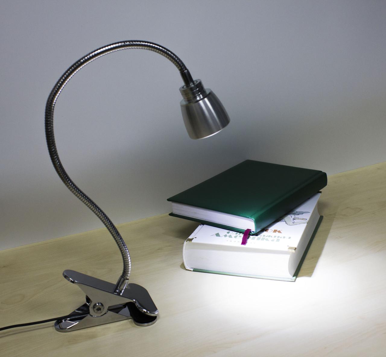 Настольная светодиодная  лампа - прищепка 1LED (USB вход) Серебристый