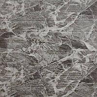 Декоративна самоклеюча 3Д панель для стін 700*770*5 мм. чорний мрамор фактура цегли