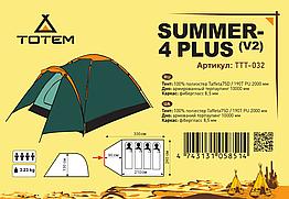 Палатка Totem Summer 4 Plus v2 (TTT-032). Палатка туристическая.