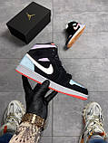 Nike Air Jordan 1 Retro Mid Multicolor (Чорний), фото 2