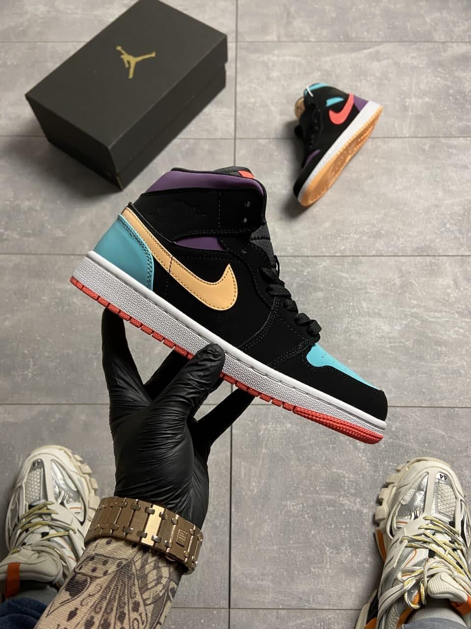 Nike Air Jordan 1 Retro Mid Multicolor (Чорний)