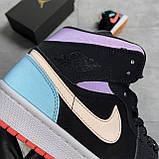 Nike Air Jordan 1 Retro Mid Multicolor (Чорний), фото 9