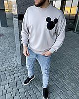 Мужской свитшот серый оверсайз, фото 1