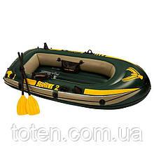 Човен надувний Двомісна з веслами і насосом, 236-114-41 см, вініл, дно надувши. Intex 68347