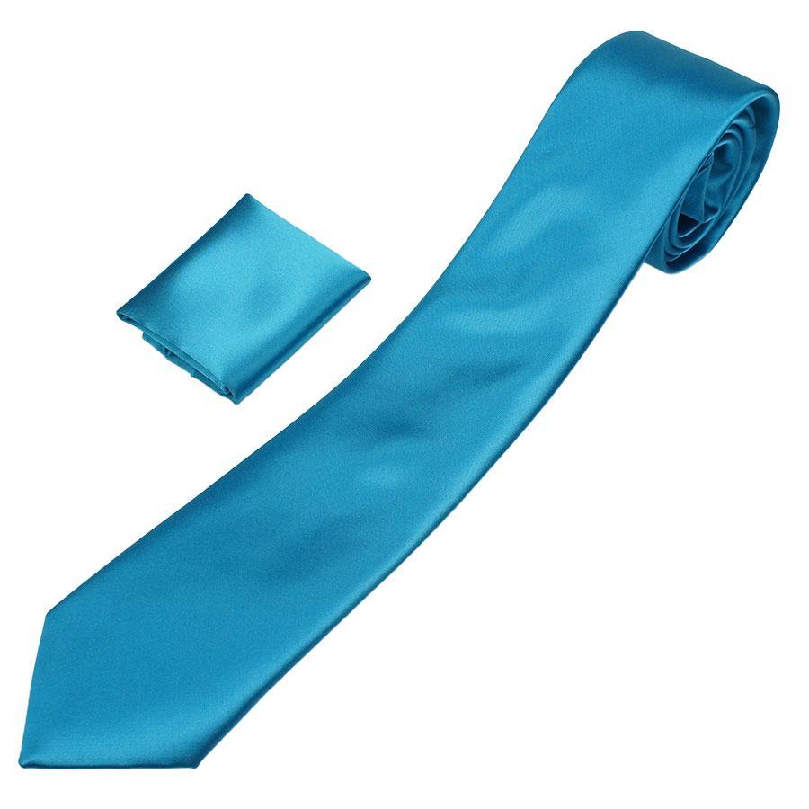 Однотонна чоловіча атласна краватка Pierre Cavelli CS-Indigo з хусточкою