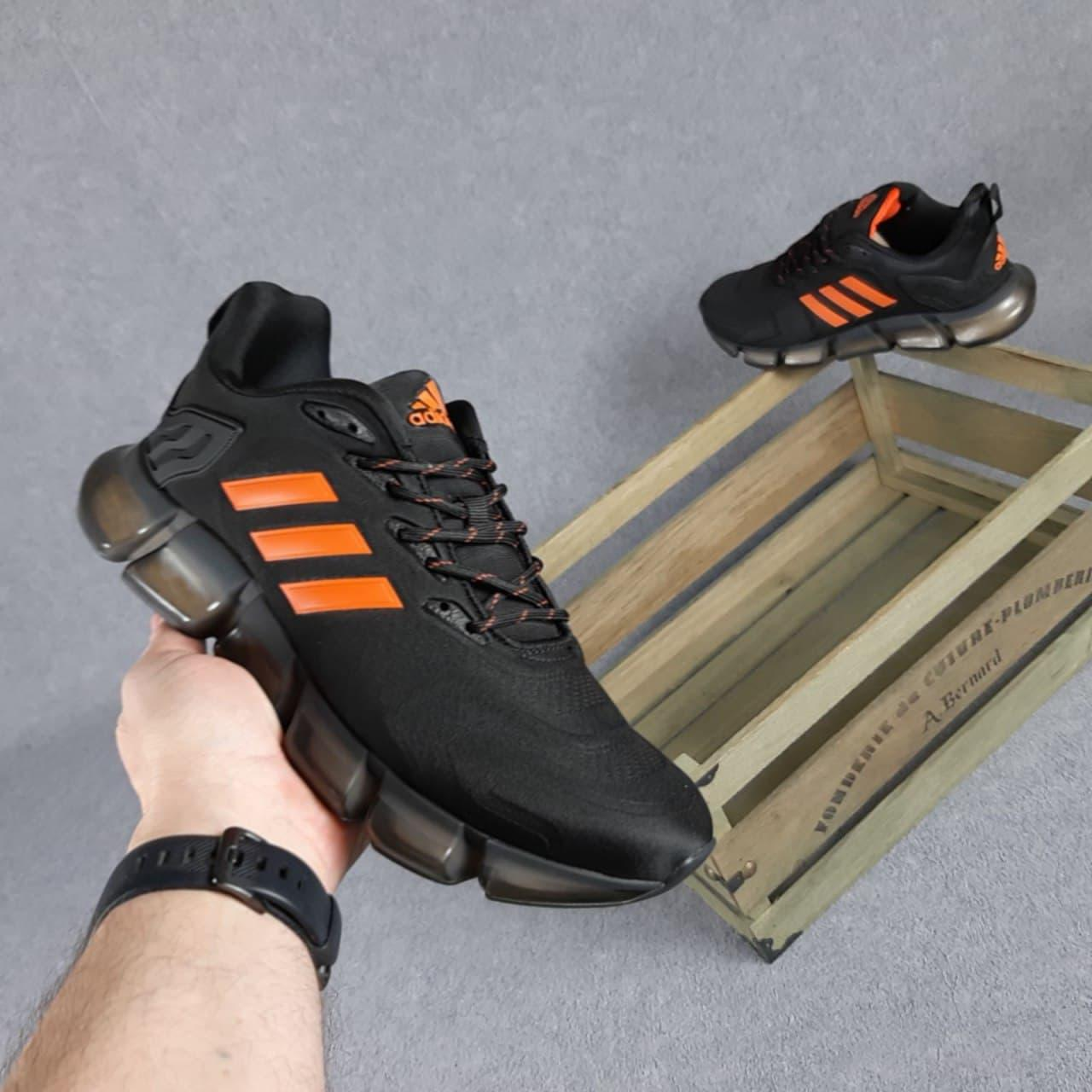Чоловічі кросівки Adidas Vento (чорні з помаранчевим) O10416 модна демісезонне взуття