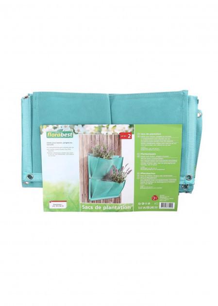 Кашпо тканинне підвісне Florabest 2 шт 38 * 44см, бірюза, 0905